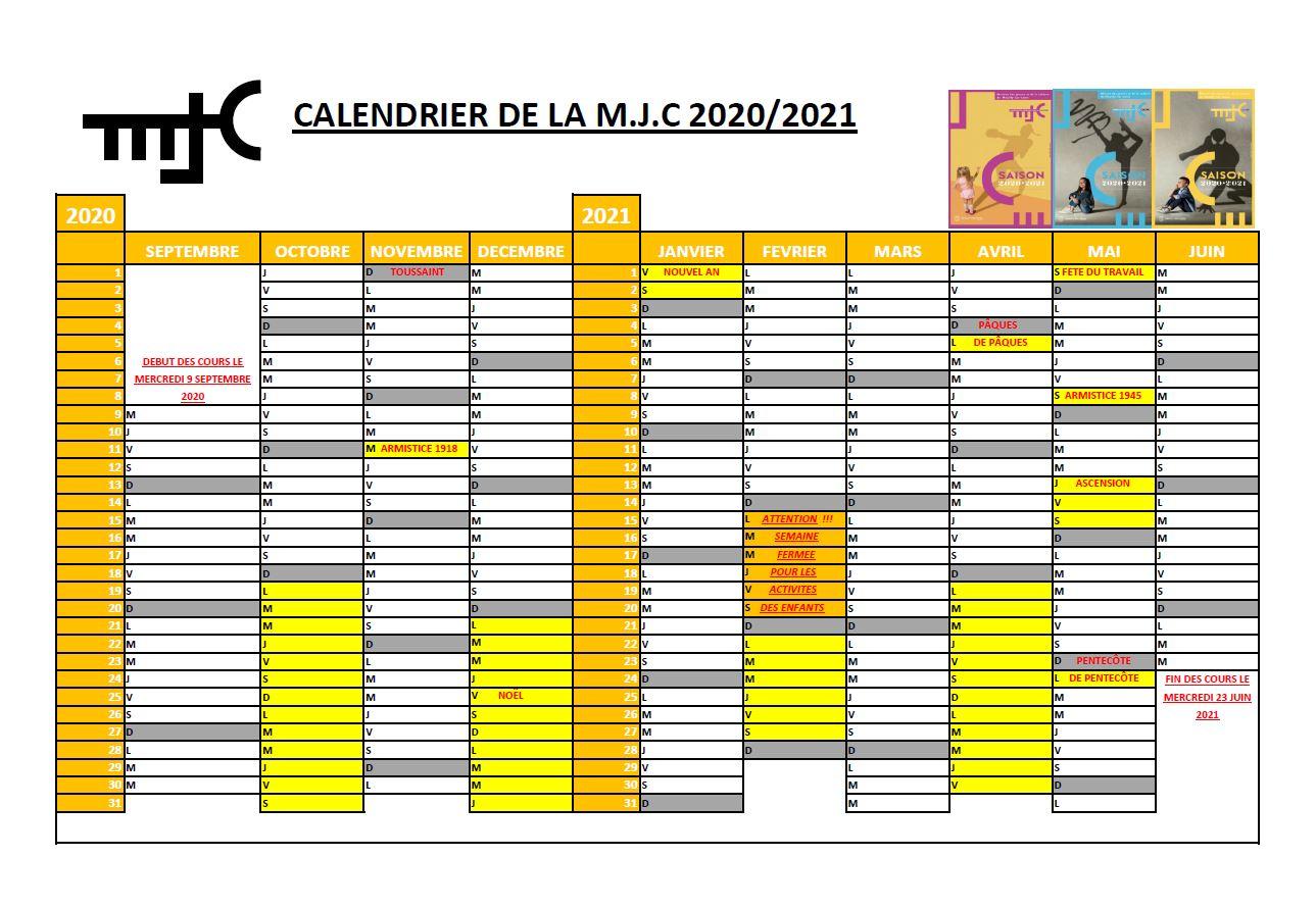 CALENDRIER SAISON 2020-2021